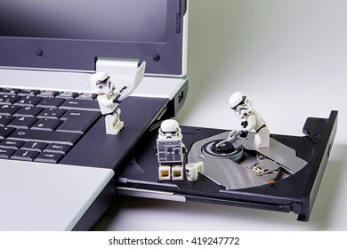 Nonthabure, Thailand - May, 05, 2016: Lego star wars stormtrooper Fix disk drives.The lego Star Wars mini figures from movie series.Lego is an interlocking brick system collected around the world.