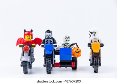 Nonthabure, Thailand - September, 22, 2016 : Lego ghost halloween ride a motorcycle.Trick or Treat.Theme Halloween background.
