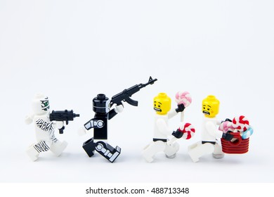 Nonthabure, Thailand - September, 24, 2016 : Lego ghost halloween want halloween candy Trick or Treat with Lego star wars stormtrooper.Theme Halloween background.