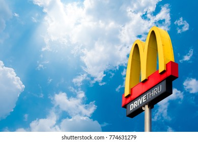 Nonthaburi, Bang Yai 20, there is a 2017 logo McDonald's. On the sky background Famous in Thailand