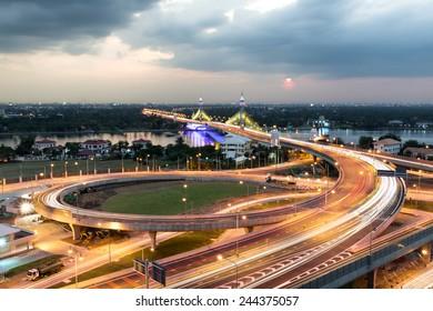 Nonthaburi bridge in Bangkok Thailand road for transportation.
