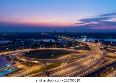 Nonthaburi bridge, Thailand with sunset
