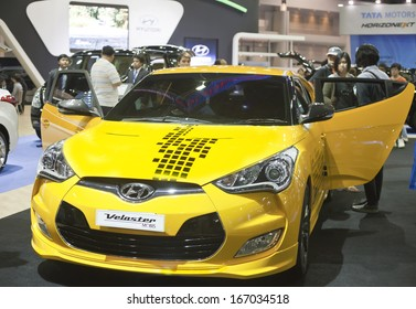NONTHABURI - DECEMBER 6 : HYUNDAI Veloster car on display at The 30th Thailand International Motor Expo on December 6, 2013 in Nonthaburi, Thailand.