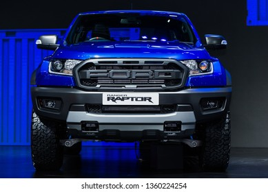 NONTHABURI - APRIL 2, 2019 : FORD Ranger Raptor car it' a super truck on display in 40th Bangkok International Motor Show 2019 at IMPACT Challenger Muang Thong Thani.