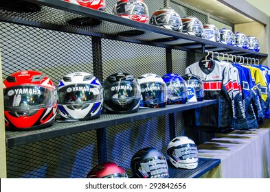 NONTHABURI - JUNE 24 : Helmet of motorbike on display at Bangkok International Auto Salon 2015 is Exciting Modified Car Show on June 24, 2015 in Nonthaburi, Thailand.