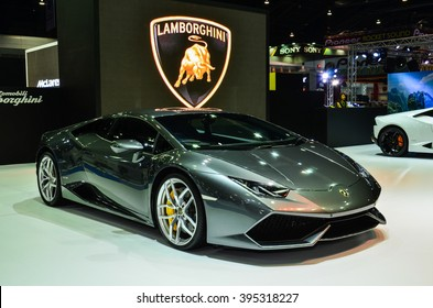 NONTHABURI - MARCH 22: Lamborghini Huracan LP 610-4 on display at The 37th Bangkok International Thailand Motor Show 2016 on March 22, 2016 Nonthaburi, Thailand.