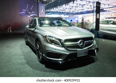 NONTHABURI - MARCH 23: Interior Design of NEW Mercedes Benz GLA 45 AMG on display at The 37th Bangkok International Motor show on MARCH 23, 2016 in Nonthaburi, Thailand.