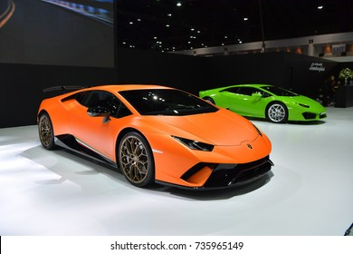 NONTHABURI - MARCH 28: Lamborghini Huracan Performante car on display at The 38th Bangkok International Thailand Motor Show 2017 on March 28, 2017 Nonthaburi, Thailand.