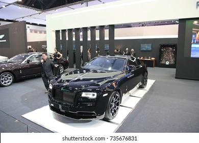 NONTHABURI - MARCH 28: Rolls-Royce Red Wraith car on display at The 38th Bangkok International Thailand Motor Show 2017 on March 28, 2017 Nonthaburi, Thailand.