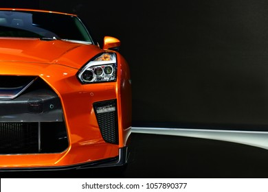 NONTHABURI - MARCH 28,2018: Detail of the front car led Headlight new Nissan GTR on display at The 39th Bangkok International Motor show in Nonthaburi, Thailand.