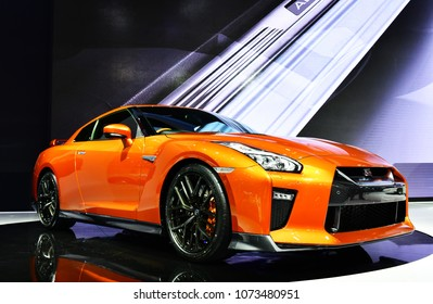 NONTHABURI - MARCH 28,2018: Detail of the front new Nissan GTR on display at The 39th Bangkok International Motor show in Nonthaburi, Thailand.