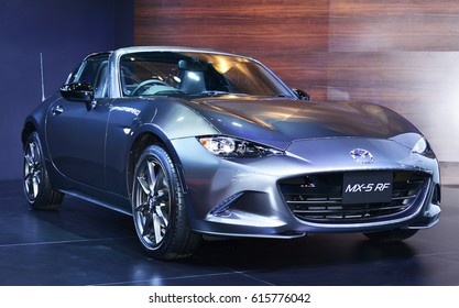 NONTHABURI - MARCH 29,2017: Details of All new Mazda MX-5 RF on displayed car on The 38th Bangkok International Thailand Motor Show in Nonthaburi, Thailand.
