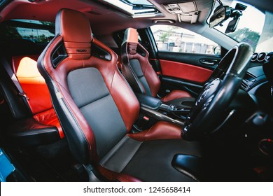 Nonthaburi - Nov 2018 : Interior of Blue Mazda RX8 with 2Jz-GTE engine Recaro seat, sunroof in Nonthaburi,Thailand shoot by Vapixs photography.