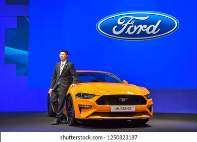 NONTHABURI - NOVEMBER 28: Ford Mustang car on display at The 35th Thailand International Motor Expo on November 28, 2018 in Nonthaburi, Thailand.