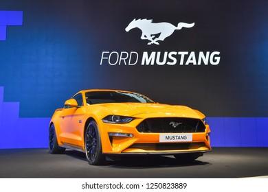 NONTHABURI - NOVEMBER 28: Ford Mustang car on display at The 35th Thailand International Motor Expo on November 28, 2018 in Nonthaburi, Thailand.
