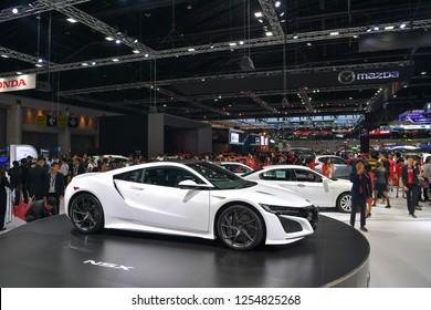 NONTHABURI - NOVEMBER 28: Honda NSX car on display at The 35th Thailand International Motor Expo on November 28, 2018 in Nonthaburi, Thailand.
