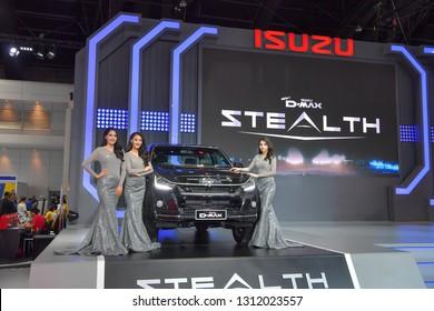 NONTHABURI - NOVEMBER 28: Isuzu D-MAX Stealth pick up on display at The 35th Thailand International Motor Expo on November 28, 2018 in Nonthaburi, Thailand.