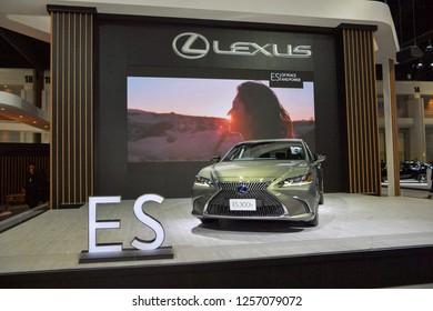 NONTHABURI - NOVEMBER 28: Lexus ES 300h Premium car on display at The 35th Thailand International Motor Expo on November 28, 2018 in Nonthaburi, Thailand.