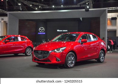 NONTHABURI - NOVEMBER 28: Mazda 2 car on display at The 35th Thailand International Motor Expo on November 28, 2018 in Nonthaburi, Thailand.