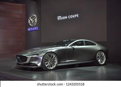 NONTHABURI - NOVEMBER 28: Mazda Vision Coupe concept car on display at The 35th Thailand International Motor Expo on November 28, 2018 in Nonthaburi, Thailand.