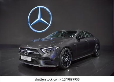 NONTHABURI - NOVEMBER 28: Mercedes-Benz AMG CLS 53 4MATIC+ car on display at The 35th Thailand International Motor Expo on November 28, 2018 in Nonthaburi, Thailand.