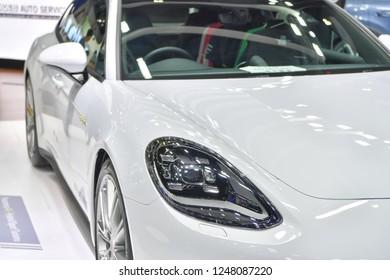 NONTHABURI - NOVEMBER 28: Porsche Panamera 4 E-Hybrid car on display at The 35th Thailand International Motor Expo on November 28, 2018 in Nonthaburi, Thailand.