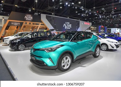 NONTHABURI - NOVEMBER 28: Toyota C-HR car on display at The 35th Thailand International Motor Expo on November 28, 2018 in Nonthaburi, Thailand.