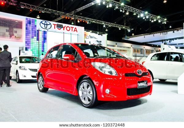 NONTHABURI - NOVEMBER 28: Toyota Yaris car on display at The 29th Thailand International Motor Expo  on November 28, 2012 in Nonthaburi, Thailand.
