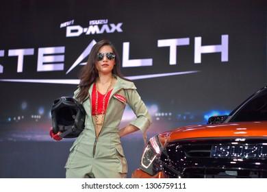 NONTHABURI - NOVEMBER 28:  Unidentified dancer with Isuzu MU-X The Iconic SUV on display at The 35th Thailand International Motor Expo on November 28, 2018 in Nonthaburi, Thailand.