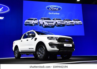 NONTHABURI - NOVEMBER 29 : Ford Ranger Wildtrak pickups on display at Thailand International Motor Expo 2017 on November 29, 2017 in Nonthaburi, Thailand.