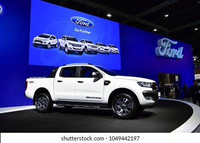 NONTHABURI - NOVEMBER 29 : Ford Ranger Wildtrak pickups on display at Thailand International Motor Expo 2017 on November 29, 2017 in Nonthaburi, Thailand.