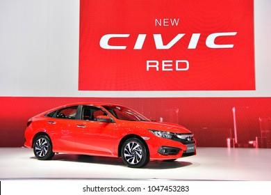 NONTHABURI - NOVEMBER 29 : Honda New CIVIC RED on display at Thailand International Motor Expo 2017 on November 29, 2017 in Nonthaburi, Thailand.