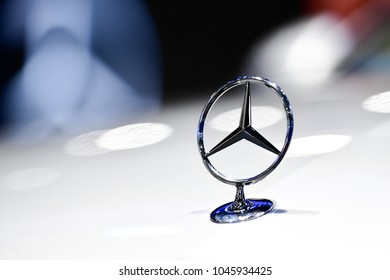 NONTHABURI - NOVEMBER 29 : Logo of Mercedes-Benz on display at Thailand International Motor Expo 2017 on November 29, 2017 in Nonthaburi, Thailand.