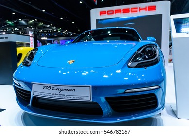 NONTHABURI - NOVEMBER 30 : Porsche 718 Cayman car on display at Thailand International Motor Expo 2016 on December 8, 2016 in Nonthaburi, Thailand.
