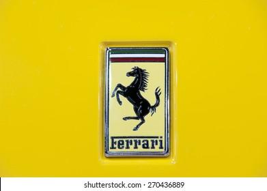 NONTHABURI, THAILAND -APRIL 1, 2015: The Logo of Ferrari car on April 1, 2015 in  in The 36 th Bangkok International Motorshow , on April. 3, 2015 in Bangkok, Thailand
