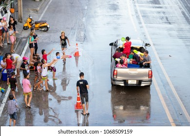 Nonthaburi, Thailand - April 14, 2018:  Thai Happy New Year; Peple and foreigners come to play splash water in Songkran Festival. Famous festival  (April 13-15 in every year) in Thailand.