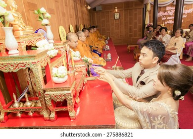 NONTHABURI THAILAND - April 26: Wedding ceremony Apr 26, 2015 , in Nonthaburi,Thailand.
