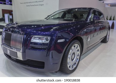 NONTHABURI, THAILAND - APRIL 2:The Rolls Royce Ghost Extended Wheelbase car is on display at the 35th Bangkok International Motor Show 2014 on  April 2, 2014 in Nonthaburi, Thailand.