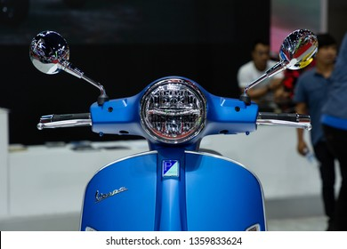 Nonthaburi , Thailand - April 3, 2019: Vespa Piaggio vintage and classic style motorbike presented in motor show Thailand .