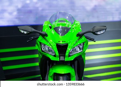 Nonthaburi , Thailand - April 3, 2019: front view of Kawasaki zx 10 rr bigbike green color presented in motor show thailand .