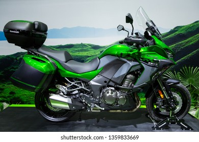 Nonthaburi , Thailand - April 3, 2019: Kawasaki Versys 1000 SE 2019 touring bigbike green color motorbike presented in motor show thailand .
