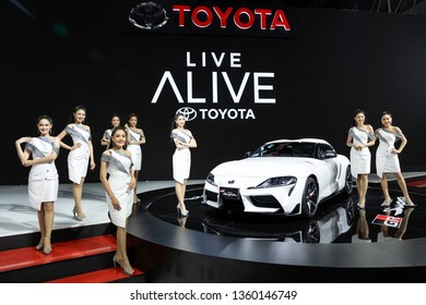Nonthaburi , Thailand - April 3, 2019: Toyota Supra gr new sports car and pretty women presented in motor show Thailand .