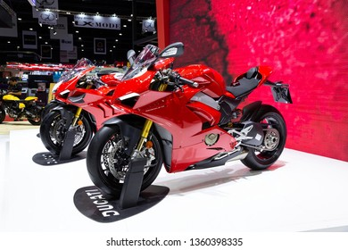Nonthaburi , Thailand - April 3, 2019 : close up body of Ducati Panigale V4S bigbike presented in motor expo Nonthaburi Thailand .