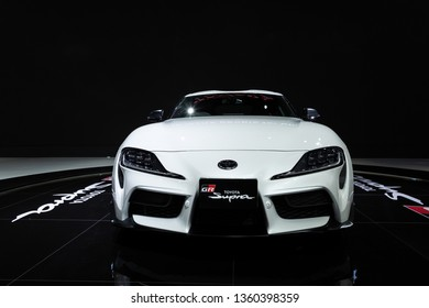 Nonthaburi , Thailand - April 3, 2019: close up front view of Toyota Supra GR presented in motor show Thailand .