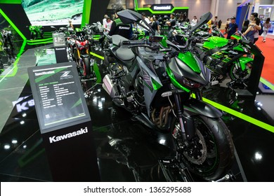 Nonthaburi , Thailand - April 3, 2019: Kawasaki z1000 bigbike green color presented in motor show thailand .