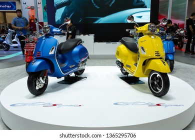 Nonthaburi , Thailand - April 3, 2019: Vespa Piaggio scooter vintage and classic style presented in motor show Thailand .