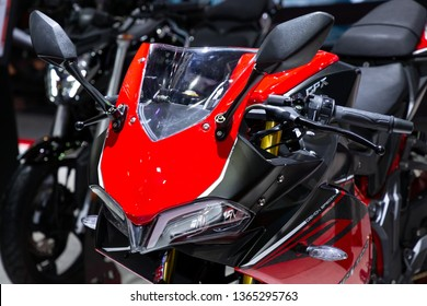 Nonthaburi , Thailand - April 3, 2019: close up front view of GPX Demon 150 GR special edition bigbike presented in motor show thailand .