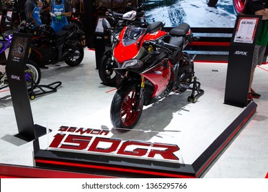 Nonthaburi , Thailand - April 3, 2019: GPX Demon 150 GR special edition bigbike presented in motor show thailand .