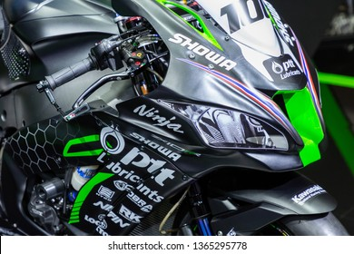Nonthaburi , Thailand - April 3, 2019: close up headlight front view of Kawasaki Ninja ZX-10RR bigbike presented in motor show thailand .