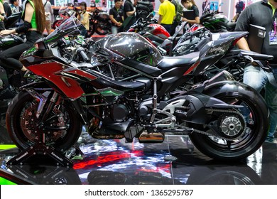 Nonthaburi , Thailand - April 3, 2019: close up body of Kawasaki Ninja H2 bigbike presented in motor show thailand .